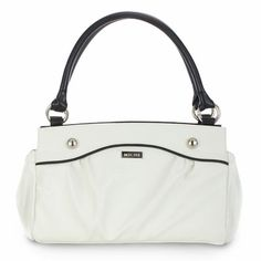 Carlie (Classic) - Slip Carlie on your Classic Bag and you have the perfect companion for lunch at your favorite café or an afternoon of fun on your tropical get-away! Lightly-textured faux leather in pure snowy white features convenient end-pocket design. Sophisticated contrasting black piping and oversized stud accents make this fresh look complete.