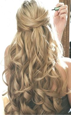 Braid Styles For Long Or Medium Length Hair; Easy Hairstyles For Women;Half Down Half Up Hairstyle; Wedding Hair Half, Wedding Hairstyles Half Up Half Down, Prom Hairstyles For Long Hair, Elegant Wedding Hair, Holiday Hairstyles, Homecoming Hairstyles, Elegant Hairstyles, Twist Hairstyles, Down Hairstyles