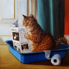 Tabby Cats Orange Art Print: Kitty Throne by Lucia Heffernan : - Animals And Pets, Funny Animals, Cute Animals, Comic Cat, Cute Cats, Funny Cats, Pretty Cats, Photo Chat, Cat Posters