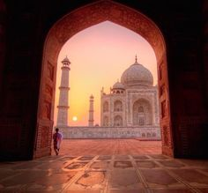 I love this unique view of the Taj Mahal at sunrise. The Taj Mahal was built from in Agra, India, by emperor Shah Jahan in memory of his favorite, and third, wife Mumtaz Mahal. It is known as the jewel of Muslim art in India. Places Around The World, Oh The Places You'll Go, Travel Around The World, Places To Travel, Places To Visit, Around The Worlds, Travel Pics, Travel Destinations, Wonderful Places