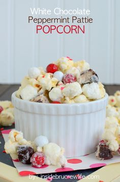 White Chocolate Peppermint Pattie Popcorn - white chocolate covered popcorn loaded with marshmallows, Sixlets, and peppermint patties