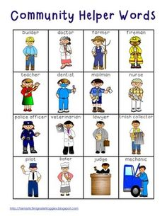 Community Helper Words and Pictures. Use this photo as a writing prompt. The students will draw their favorite community helper and write a sentence describing how that person helps the community. (Or bingo) Kindergarten Social Studies, Teaching Social Studies, In Kindergarten, Community Helpers Pictures, Community Helpers Preschool, List Of Community Helpers, Community Workers, School Community, Space Activities
