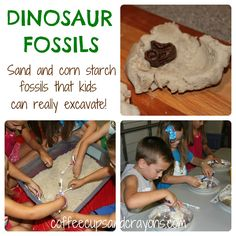 Sand and Cornstarch Dinosaur Fossils.that kids can really excavate! Simple play ideas, learning activities, kids crafts and party ideas, plus acts of kindness for kids! Dinosaurs Preschool, Dinosaur Activities, Dinosaur Crafts, Preschool Science, Science Classroom, Sensory Activities, Preschool Activities, Dinosaur Projects, Science Fun
