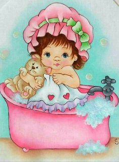 Cute Kids, Cute Babies, Brother Innovis, Precious Moments Figurines, Baby Drawing, Baby Art, Painting For Kids, Doll Face, Bath Time