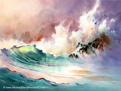 ✿ On the Rocks - Original watercolor painting by Michael David Sorensen ✿