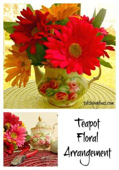 This beautiful teapot floral arrangement illustrates how everyday items can be used in visually stunning ways!  When the Spring season ends, the teapot can be used again for its intended purpose!