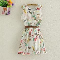 Women's Chiffon Floral Print Mini Dress - USD $ 19.24