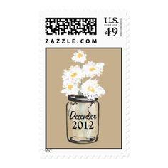 Mason Jar filled with White Daisies Postage