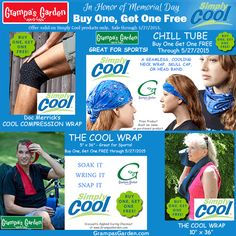 Buy One, Get One Simply Cool Products, In Honor of Memorial Day.  Sale through 5/27/15.   View All Simply Cool Products:  http://www.grampasgarden.com/simply-cool.html  #memorial #day #sale #cool #summer #heat #sports #gardening #staycool #simplycool