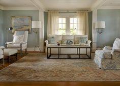 Soft tone Oriental Rug Living Room Design
