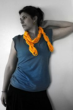 Upcycled Tshirt Scarf by Trashn2Tees (also pictured here are a pair of TNT tshirt shard earrings)