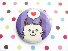 Siamese Himalayan Cat Pin for Charity by SliceofOrange on Etsy, $3.00