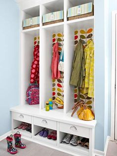 Entry closet/storage - what a cute, fun way to organize your entryway.  Especially nice if you can have an individual space for each family member.