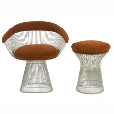 Platner dining chair and matching stool