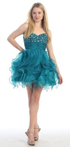 Strapless Cocktail Party Short Prom Ruffled Dress « Dress Adds Everyday