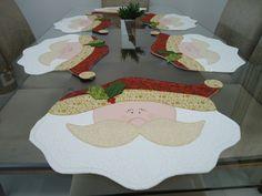 6 Peças Jogo americano Noel, confeccionado em tecido 100% algodão, com aplicação feita a máquina.  Estruturado com manta acrílica.