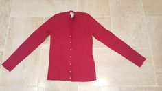 Jones New York Women's sz S Red Cotton Blend Button Down Cardigan Sweater #JonesNewYork #Cardigan