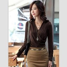 Brown Long sleeve  Solid Color Wrap Blouse Top @ LightInTheBox $15