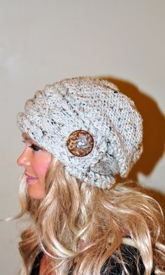 Women Hat Slouchy Hat Slouch Beanie Button Hat Hand Knit Winter Adult Hat CHOOSE COLOR Wheat White Chunky Gift