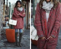 Winter Outfit: Oversized Cardigan + Over-the-knee Boots