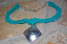 Turquoise multi-strand knotted neckalce with by SweetDaddysJewelry