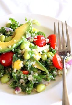 This delicious vegan salad made with kale, quinoa, edamame, and fresh fruits proves to be a delicious and simple meal to impress. Ingredients