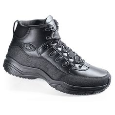 Let this sturdy boot get you through your demanding workday. Get the rugged reliability of a hiking boot with the added protection of our patented SFC Mighty Grip® outsole. Features include padded ankle protection; a protective bumper toe and a removable cushioned insole. A reinforced rhino wrap and a steel shank provide durability and support.  62.98USD