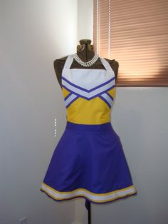 any college football cheerleader team colors hostess apron made to order. $45.00, via Etsy.