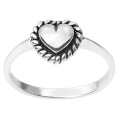 Women's Journee Collection Heart Rope Detail Ring in Sterling Silver