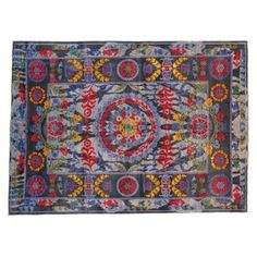 """Check out this item at One Kings Lane! 6'2""""x8'6"""" Patna Rug, Gray/Fuchsia"""