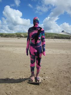 Knitbombed Anthony Gormley Statue Crosby Beach 2012
