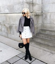 Spring outfit idea: white denim skirt, over the knee boots, sweater, jacket #fashion #style #inspiration