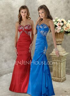 Abendkleider - $126.99 - Fabelhaft Meerjungfrau-Linie Herzausschnitt Bodenlang Charmeuse Abendkleider mit Rüschen  Spitze (017004185) http://jenjenhouse.com/de/pinterest-g4185