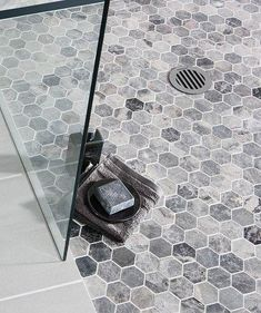 Lantau Grey™ Mosaic Hexagonal Tile Love the hexagon tile and I like the gray variations in this one. Light grout scares me. Small Bathroom Tiles, Bathroom Colors, Bathroom Flooring, Master Bathroom, Vinyl Flooring, Bathroom Showers, Bathroom Ideas, Bathroom Cabinets, Laminate Flooring