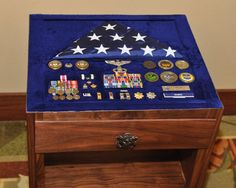 Hi fellow Lumberjocks and guests, This was my second shadow box table. It is made of solid walnut. This project took me about 100 hours to complete and I am extremely happy with the results as well as people who saw it at the retirement cere. Shadow Box Table, Diy Shadow Box, Shadow Box Frames, Military Shadow Box, Military Life, Military Retirement, Retirement Ideas, Retirement Gifts, Special Forces