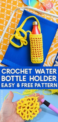 Crochet Water Bottle Holder Pattern Hate holding on to your water bottle? This crochet water bottle holder is a great use of scrap yarn and it keeps your water nearby and your hands free! Water Bottle Carrier, Water Bottle Holders, Bottle Bag, Water Bottles, Filet Crochet, Crochet Shell Stitch, Crochet Gifts, Diy Crochet, Crochet Baby