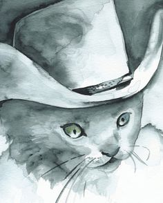 Desperado Cat Art cowboy western children boys room~ Amber Alexander