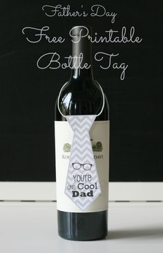 BargainShopperMom Free Printable Father's Day Necktie Wine Bottle Tag