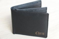 Personalized Bi-Fold Men's Genuine Leather Wallet, Man Engraved Wallet, Groomsmen Gift, Monogram Wallet, Gift for Men, Custom Man Wallet $24.99