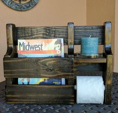 Magazine Rack Toilet Paper Holder made from Rustic Reclaimed