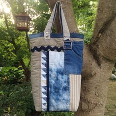 Linen tote bag Linen Patchwork tote Patchwork by HobbsHillQuilts