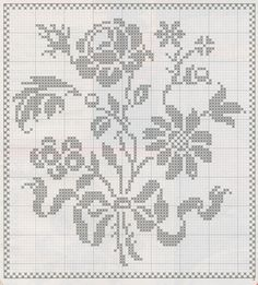 Filet Crochet Charts, Crochet Cross, Crochet Motif, Crochet Doilies, Crochet Flowers, Crochet Lace, Crochet Patterns, Tiny Cross Stitch, Cross Stitch Designs