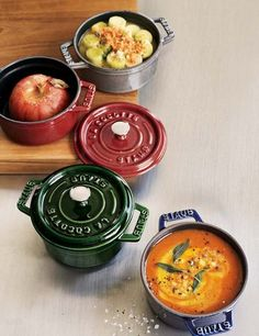 Staub Mini Cocottes |These petite covered casserole dishes are perfect for baking soups, pot pies, pastas or desserts and then serving them in style. Le Creuset stoneware is an extremely durable and versatile choice for one-dish baking, serving and storing. For cooking inspiration, the included Mini-Cocotte Cookbook features 25 sweet and savory recipes created exclusively for these stoneware pieces. Williams-Sonoma.com: