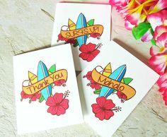 Mahalo Note Cards Hawaiian Surf Board and by sferradesigns on Etsy