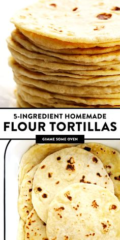 My favorite homemade flour tortillas are irresistibly soft, chewy, thick, and flavorful -- and easy to make with just 5 ingredients (no lard)! Perfect for tacos, burritos, enchiladas, quesadillas, and naturally vegan too! | gimmesomeoven.com #flour #tortillas #mexican #texmex #easy #tacos #enchiladas #burrito #homemade #diy #mealprep
