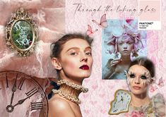 This moodboard is inspired by Alice and wonderland, and elements of pink shades, lace and melting clocks. Made using Adobe Photoshop. Glass Photoshop, Adobe Photoshop, Bridal Looks, Bridal Make Up, Melting Clock, Green Eyes, Blue Eyes, Green Makeup, Dark Lips