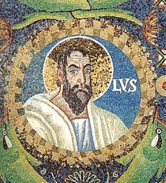 Basilica di San Vitale, Ravenna. I mosaici bizantini del periodo giustinianeo. 546-547. Intradosso dell'arco di accesso al presbiterio. SAN PAOLO