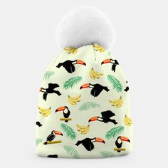 Toucan Tropical Bird Pattern Beanie, Live Heroes Cute Beanies, Tropical Birds, Bird Patterns, Unique Image, Winter Hats, Live