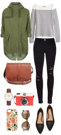 Spring Style Shop this outfit Parka // Jeans // Stripes Top // Loafers // Bag // Watch // Camera // Phone Case // Sunglasses Pretty Outfits, Fall Outfits, Casual Outfits, Cute Outfits, Fashion Outfits, Womens Fashion, Spring Summer Fashion, Autumn Winter Fashion, Spring Style