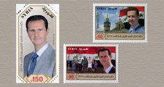 Syrian postal stamps commemorating the 2014 re-election of President Bashar al-Assad